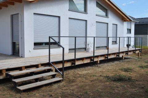 Terrassensicherung mit Drahtseilfüllung